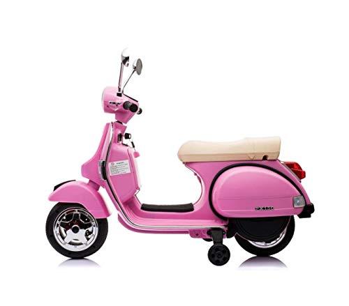 Expertshop Vespa Moto con rotelle Piaggio elettrica per Bambini 12 Volt Mp3 con Radio Colore Rosa