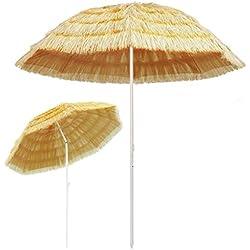 Festnight- Parasol de Plage Parasol de Jardin Parasol d'extérieur Parasol pour Patio Balcon Naturel 240 cm Style hawaïen