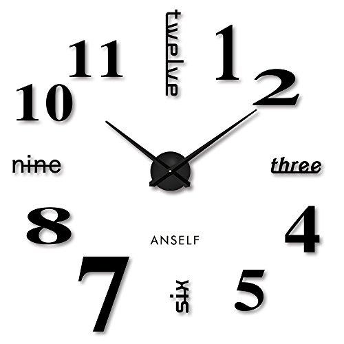 Anself ¡Moderno! DIY Reloj de pared extraíble...