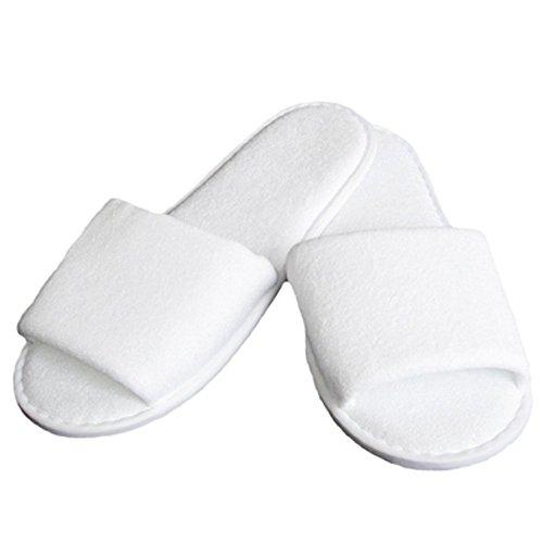 Linens Limited Chaussons à bouts ouverts pour le Spa, matière éponge, blanc