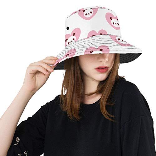Zemivs Herz umgebender reizender Panda Sommer Unisexfischensonne Spitzen Eimer Hüte für Kind Teenager Frauen und Männer mit Packable Fischer Kappe für im Freienbaseball Sport Picknick