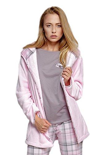 5c0440400738 Sensis sinnlicher Morgenmantel aus 100% Polyester mit zartem Motiv - Made  in EU (L XL (40 42), Kuscheljacke rosa)