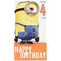 Despicable Me Age 4 Birthday Card