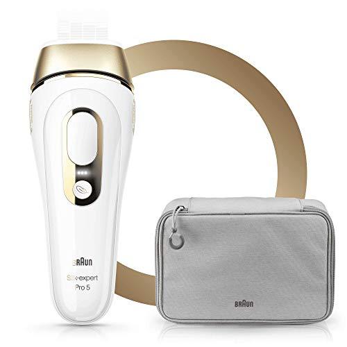 Braun Silk-Expert Pro 5 PL5014 IPL Haarentfernungsgerät, für dauerhafte Haarentfernung, für Körper und Gesicht, 400.000 Lichtimpulse, inkl. Premium-Aufbewahrungstasche und Venus Rasierer, weiß/gold - System Pl-licht