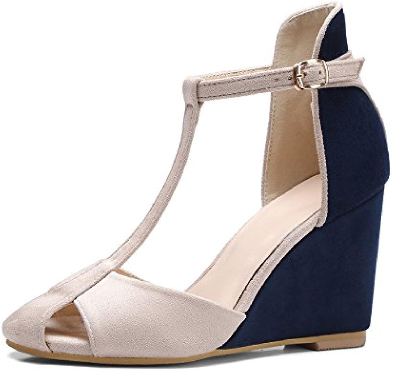 Shymamamiya Zapatos de Gamuza de Verano Zapatos de Cuña de Plataforma Baotou de Personalidad (Color : Azul, Tamaño...