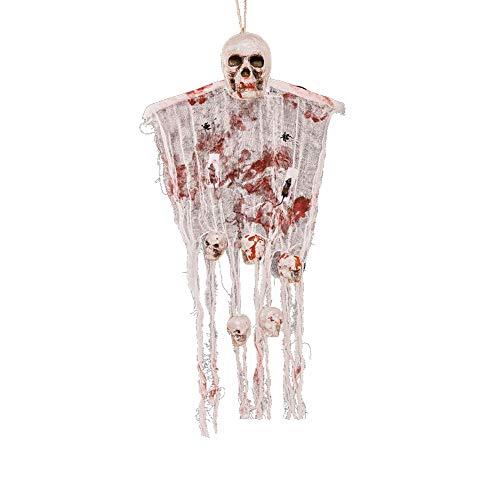 Halloween Deko Grusel Dekoration Set Halloween Horror Vorhang Stroh Schaum Geist Kopf Gaze Anhänger mit Blut 1 Packung für Halloweendeko Make-up-Party Halloween Dekoration