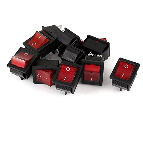 AC 250V 15A AC 125V 20A 4Pin DPST EIN / AUS Rote Lampe Wippschalter 10 Stück -