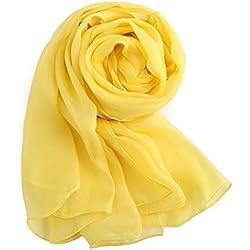 MEISHINE Elegante Mujer 100% Seda Bufanda - 180 * 110cm Larga Seda Fular Estola Chal Pañuelo Ideal para 4 Temporadas (Amarillo)