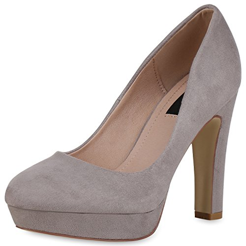 SCARPE VITA Damen Plateau Pumps Party High Heels Wildleder-Optik Abendschuhe 162786 Grau Velours 36