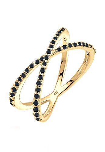 Elli Damen Echtschmuck Ring Wickelring X mit Zirkonia Kristallen in 925 Sterling Silber vergoldet 52