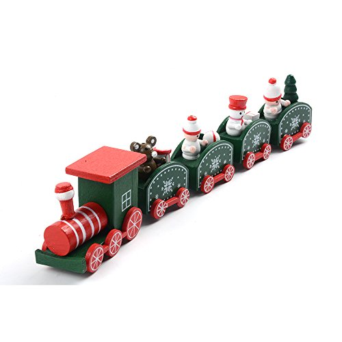 Befitery Weihnachtszug Eisenbahn Weihnachtsgeschenk Holz Zug Weihnachten Dekoration Kinder Spielzeug Geschenk 5-teilig (Grün)