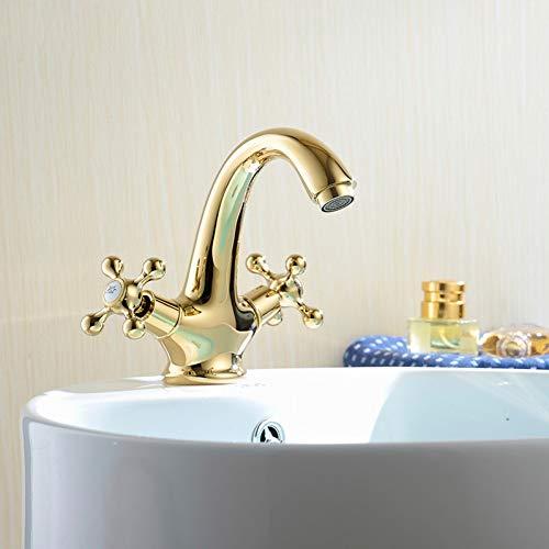 Grifos de lavabo YHSGY Grifos De Lavabo De Baño Tipo De Estilo Europeo Cuencos De Lavabo Pulidos Dorado Soporte Doble Orificio Único Placa De Cerámica Carretes Para Grifos