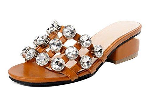 sandales Mme pantoufles dame de la mode d'été fraîche épaisse avec des rivets avec l'extérieur pantoufles antidérapants Brown