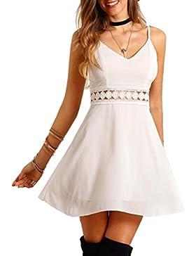 ROMWE Vestidos Para Mujer Vestido tirante fino encaje