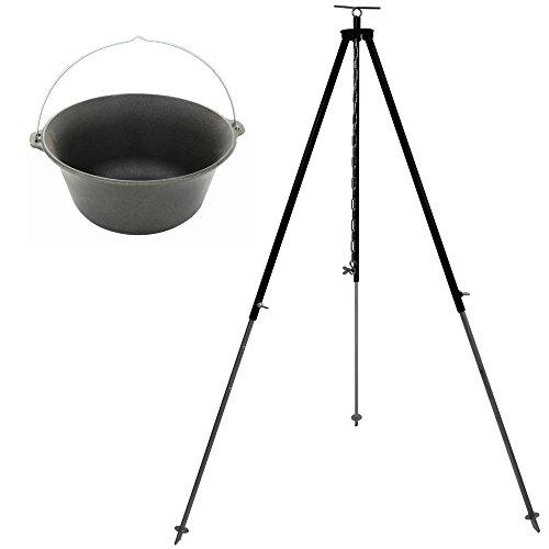 Grillplanet Gulaschkessel Kesselgulasch Set 16 Liter Gusseisen mit Dreibein-Gestell 180 cm Kettenhöhenverstellung