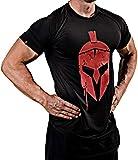 Satire Gym Fitness T-Shirt & Stringer Uomo - Abbigliamento Sportivo Funzionale con Motivo Sparta - Adatto per Allenamento, Allenamento e Spartan - Slim Fit (Nero - Sparta Front Head T-Shirt, L)