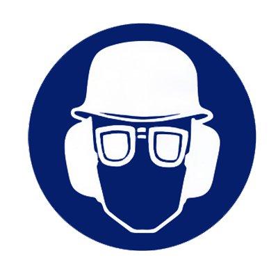 """Gebotszeichen Gebotsschild """" Augenschutz, Gehörschutz und Schutzhelm tragen """" Durchmesser 200 mm Folie #692516"""