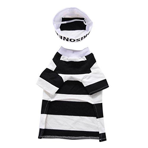 efängnis gestreift Pet Hund Halloween Party Kostüm Kleidung Cosplay mit Hut (Gefängnis Halloween Kostüme)