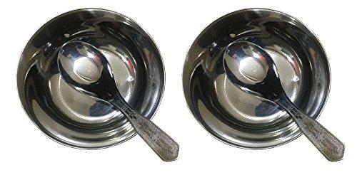 �ssel-Set 2Stück, Suppenteller, Edelstahl Suppenteller doppelstöckige isoliert Prep Salat Servieren Schalen mit Löffel, Edelstahl Suppe Schüssel-Set ()