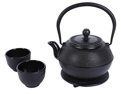 Théière en fonte noire Lot de 2 – Design clouté néerlandais contemporain avec dessous-de-plat, deux tasses – 1 200 ml