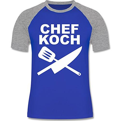 Küche - Chefkoch Messer - zweifarbiges Baseballshirt für Männer Royalblau/Grau meliert