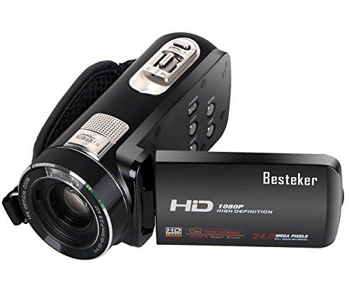 Kamera Camcorder, Besteker FHD Max 24,0 Megapixeln 10X Optisches Zoom Videokamera mit 3,0 Zoll Touchscreen und Fernbedienung