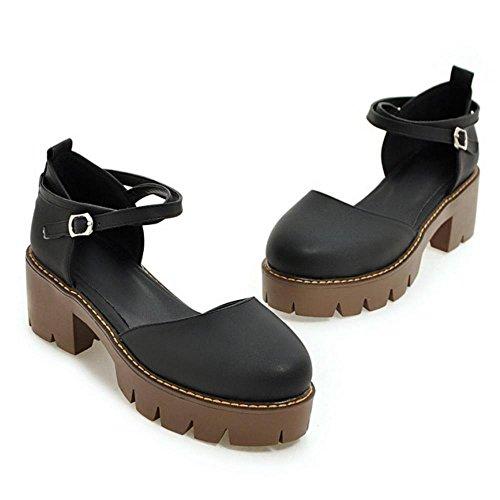 COOLCEPT Damen Mode-Event Criss Cross Chunky Heels Sandalen Klassische Geschlossene Shoes Schwarz