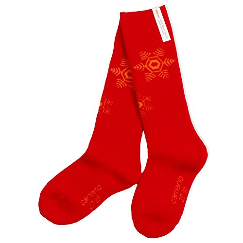 2 Paar CAMANO Mädchen oder Jungen Kniestrümpfe, Socken Strümpfe, 2er Pack, Thermo, 'Star', chili red, CA 3774, Größe:35-38-2er Pack (Star-2pk Socken)