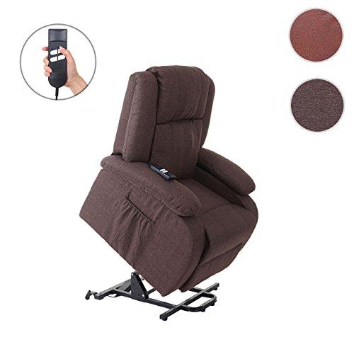 Mendler Fernsehsessel Lincoln, Relaxsessel Sessel, 2 Elektromotoren, Aufstehhilfe, Textil ~ mahagony
