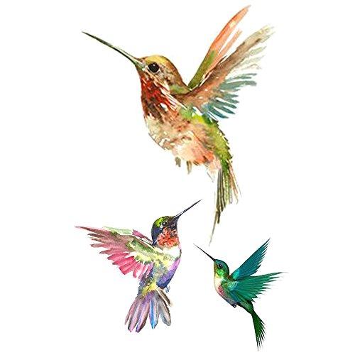 WYUEN 5 Blätter Vögel Kolibri Fake Tattoo Wasserdicht Temporäre Tätowierung Aufkleber Für Frauen Männer Körperkunst 9,8X6 cm FA-103