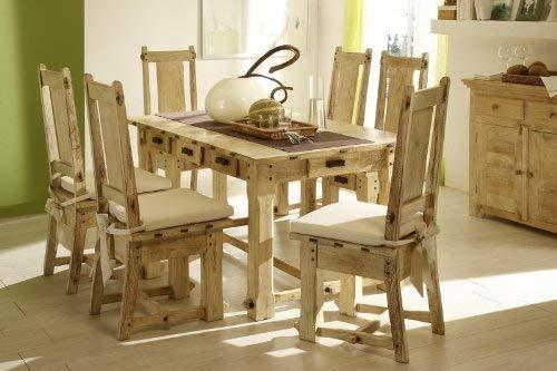 Massivum Tisch 150x90+6 Stühle mit Schub Patina Mango, Holz, Natur, 90 x 150 x 75 cm