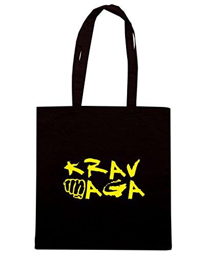 T-Shirtshock - Borsa Shopping TAM0107 krav maga organic mens tshirt dark Nero