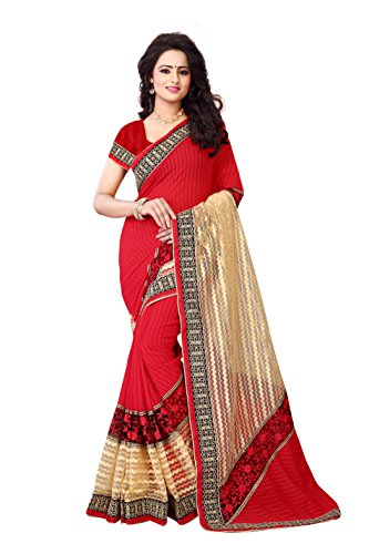 Crawler Creation Women's Brasso & Net Saree With Blouse Piece(S1010_Multicolor_Free Size)