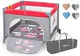 Lionelo Stella Laufstall Kinderbett Baby Spielzeug Klappbett Babybett Reisebett für Kinder Laufgitter Beistellbett, mit Tasche, ab Geburt, Tragbar (STELLA PINK OWLS)