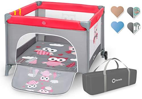 Lionelo Stella Reisebett, Laufstall für Baby, ab Geburt bis zum 15 kg, Tragetasche, Moskitonetz (PINK OWLS)