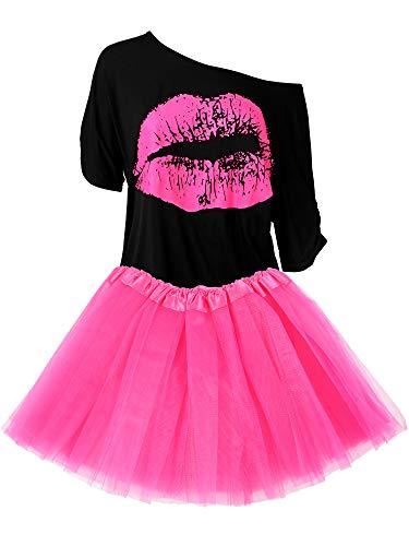 Damen 80er Jahre Kostüm Accessoires Set, Lippen Print T-Shirt Fashion Adult Tutu Rock Madonna Cross Halskette (XXXL) (80's Kostüm Für Schwangere)