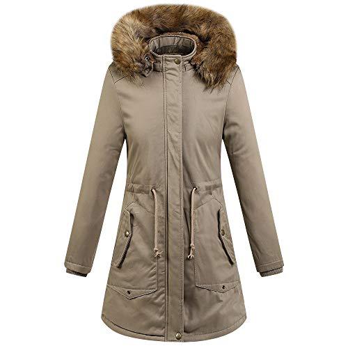 EERTX - Zeitlich begrenztes Special/Damen Oberbekleidung Blusen Winter Wärmender Mantel für Damen, knielanger Parka für Damen,Mit Kapuze Kleidung Outwearprime Day 2019 wann(Khaki)