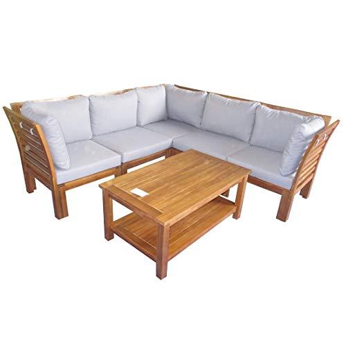 OUTLIV. Loungemöbel Outdoor Bogota Loungeecke 6-teilig Akazie/Polster Gartenlounge Outdoor Lounge...