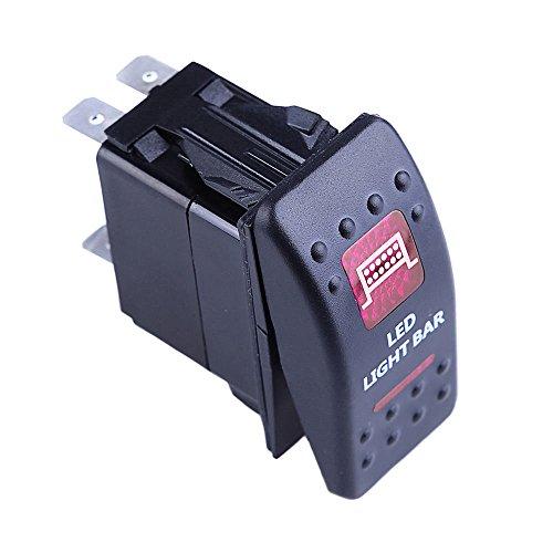 Light Bar-schalter (HOUTBY™ 12V 20A KFZ Rot LED Licht Beleuchtet Wippenschalter Kippschalter Armaturenbrett Schalter Bar Light)