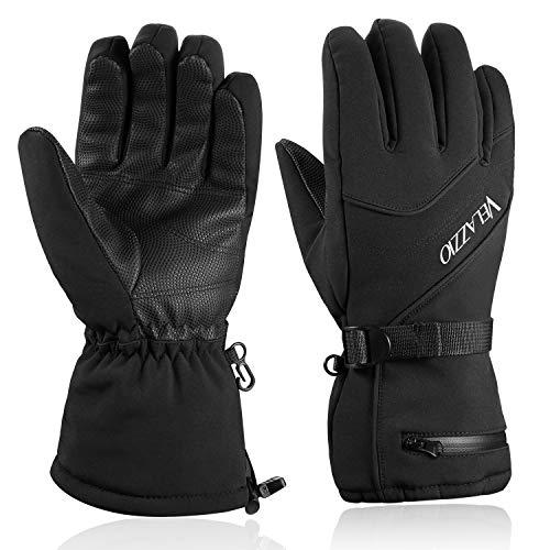 VELAZZIO Skihandschuhe für Herren, Wasserdichte Atmungsaktive Warme Winterhandschuhe, 3M Thinsulate Snowboard-Handschuhe (Schwarz) (Klein)