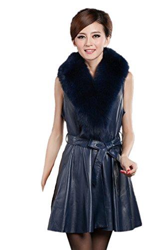 Queenshiny Damen Frauen Schaf-Leder-Weste mit Big Fuchs kragen Blau