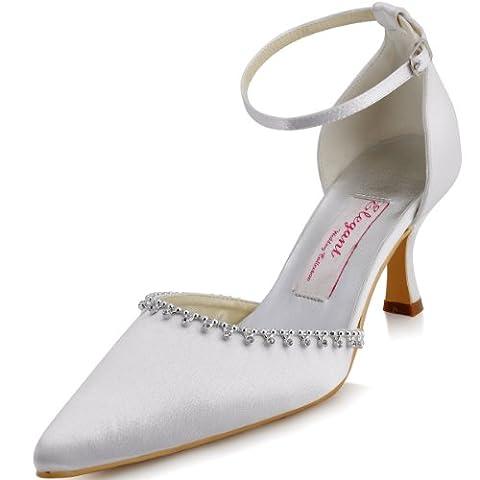 ElegantPark EP11001 Women Pointy Toe Sandals Rhinestones Kitten Heels Buckle Wedding Bridal Court Shoes White UK