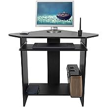 Mari Home - Clifton Negro escritorio de la computadora Mesa de ordenador moderna Escritorio para hogar o oficina con portateclado
