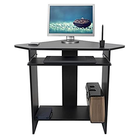 Mari Home - Clifton Black Home Office Computer Corner Desk Workstation with Keyboard Shelf