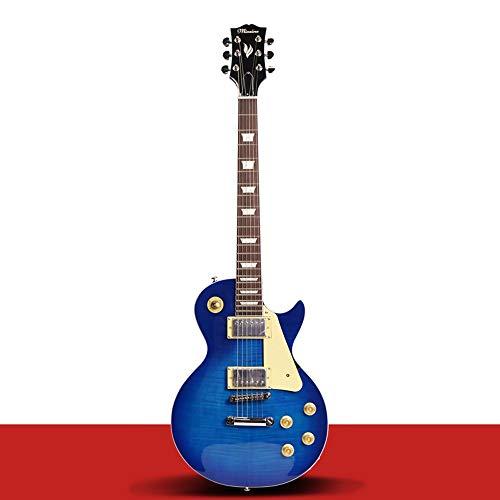 Miiliedy LP E-Gitarre Set Anfänger Professionelle E-Gitarre kann mit Lautsprechereffekten ausgestattet Werden Elektronische Gitarre mit Tasche, Gurt, Schnur, Kabel, Pick, Zubehör ( Color : Blue )