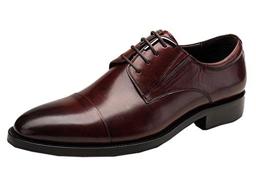 Leder-fahrer-schuhe (Dilize Herren Premium Leder Derby Kleid Business Oxford mit GAP Fuß, Braun - rotbraun - Größe: 43 EU)