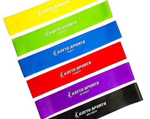 bande di resistenza versione premium - set di 6 bande elastiche per fitness da 30 cm x 5 cm più e-book manuale d'allenamento e garanzia a vita.