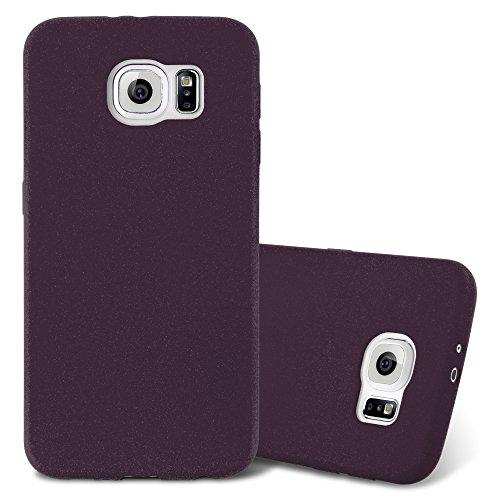 Cadorabo Hülle für Samsung Galaxy S6 - Hülle in Frost BORDAUX LILA – Handyhülle aus TPU Silikon im matten Frosted Design - Silikonhülle Schutzhülle Ultra Slim Soft Back Cover Case Bumper