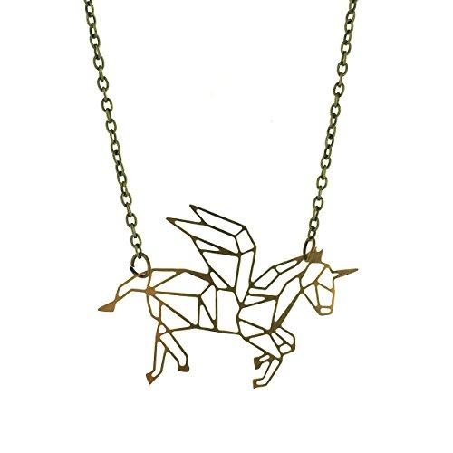 Geometrische Einhorn Halskette