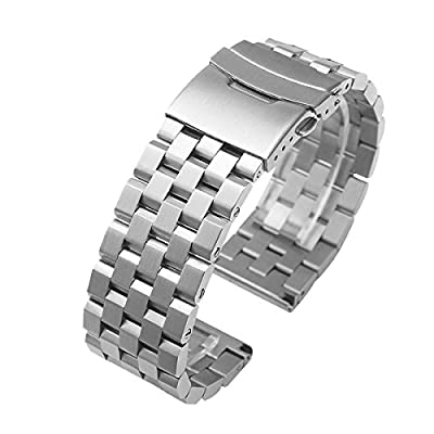 acero inoxidable reloj pulsera correa de banda de extremo recto enlaces sólidos hebilla plegables